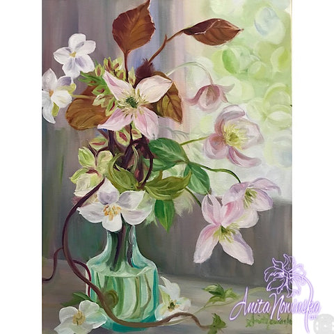 'Spring Gathering'- Still life with Clematis in Oils