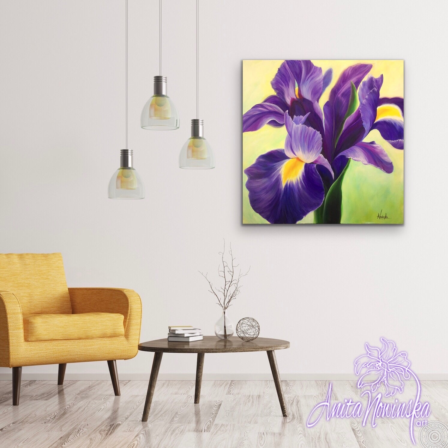 A Deep purple iris with flash of yellow in an oil on canvas flower painting by Anita.