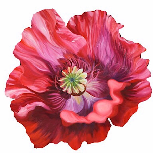 Red Poppy Freeform cutout oil painting, interior decor wall art