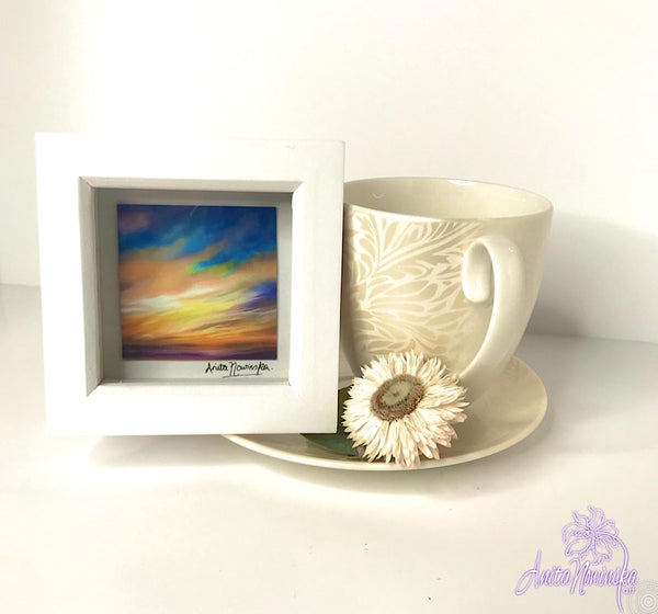 Gorgeous miniature floral print from Anita Nowinska flower painting, framed in white, making a perfect little gift of colour for your interior, sunset