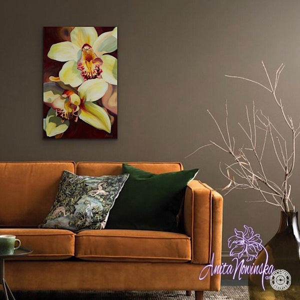 gold, cream & burgundy orchid flower painting by Anita Nowinska