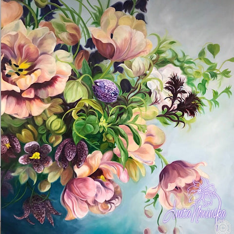 Original oil on canvas flower painting of Spring bouquet in vintage feel. Statement piece interior wall decor of labelled Époque tulips