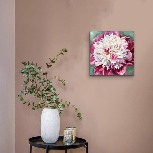 pink & white peony on soft green flower painting by Anita nowinska
