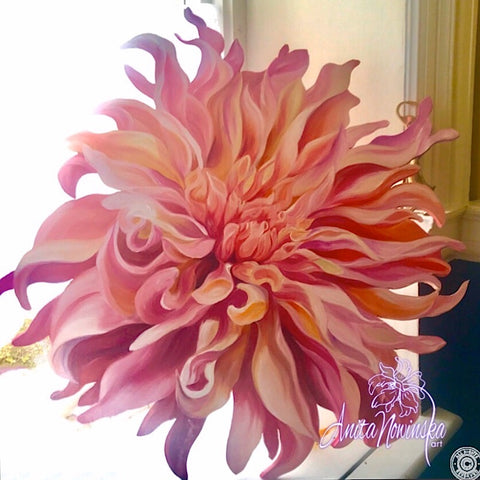 Freeform cut out oil painting on board of peach labyrinth dahlia. Interior decor wall art