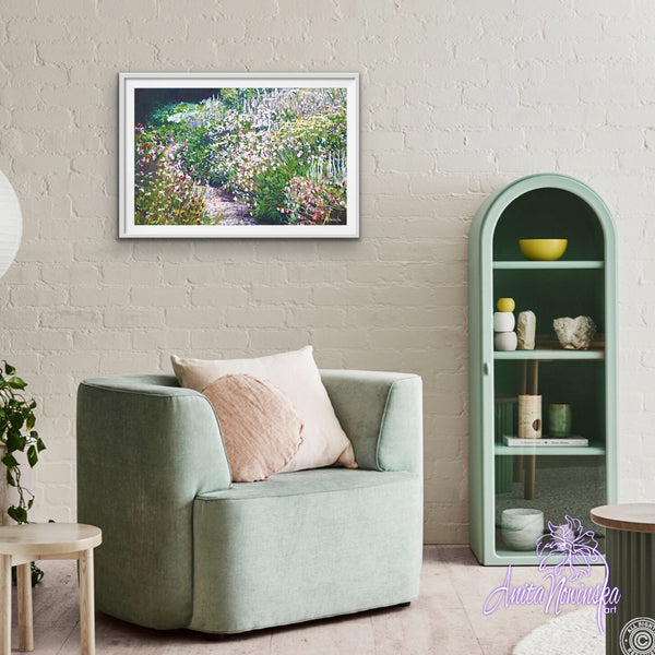 Limited edition print of path meandering through a green and white garden fron an original garden painting by Anita Nowinska. Beautiful interior a wall decor in a range of finishes.