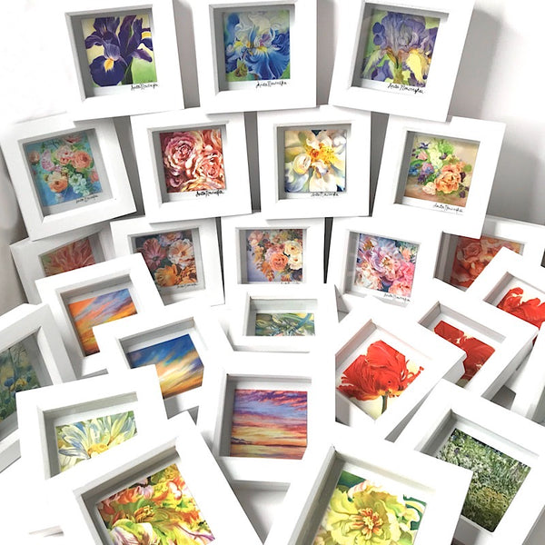 Miniature floral framed prints. Beautiful little gifts of colour from Anita Nowinska flower paintings