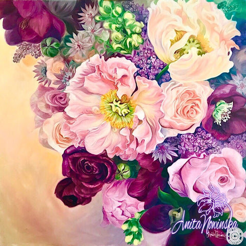Big flower painting of wedding bouquet with California poppy, hellebores, lilacs & roses in pinks & cerise & peach.