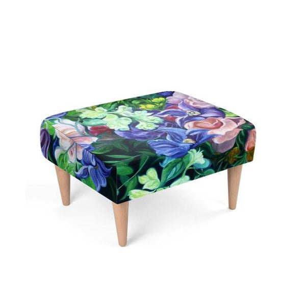 Floral velvet footstool, teal, pink & purple flowers by Anita Nowinska