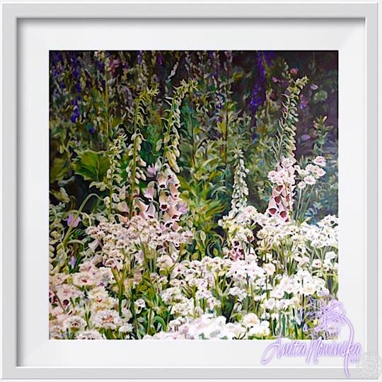 "8"" framed limited edition print of foxglove garden flower painting by Anita Nowinska"