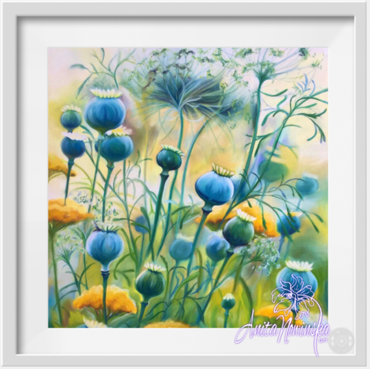 "8"" framed limited edition print of blue poppy pod meadow flower painting by Anita Nowinska"
