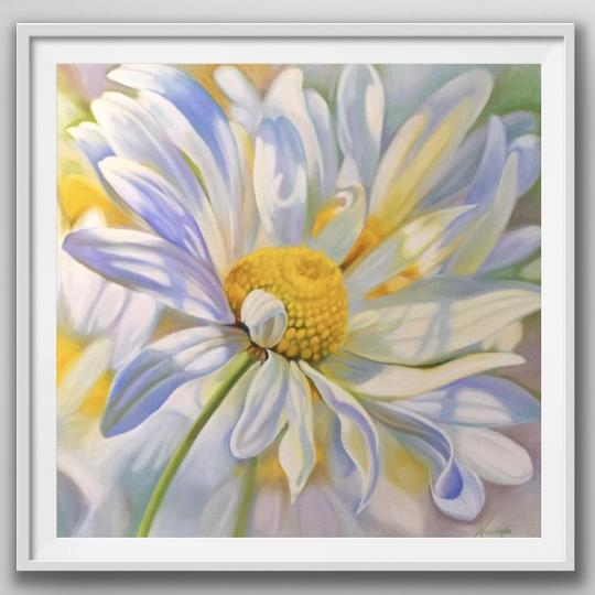 "8"" framed limited edition print of daisy flower painting by Anita Nowinska"