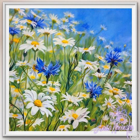 "8"" framed limited edition print of daisy & cornflower meadow flower painting by Anita Nowinska"
