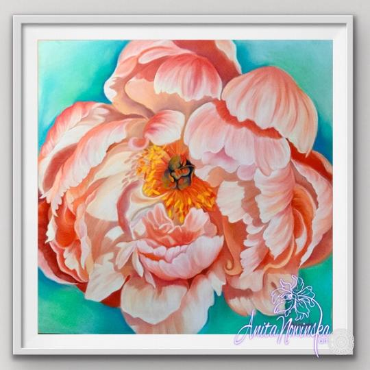 "8"" framed limited edition print of peach peony flower painting by Anita Nowinska"