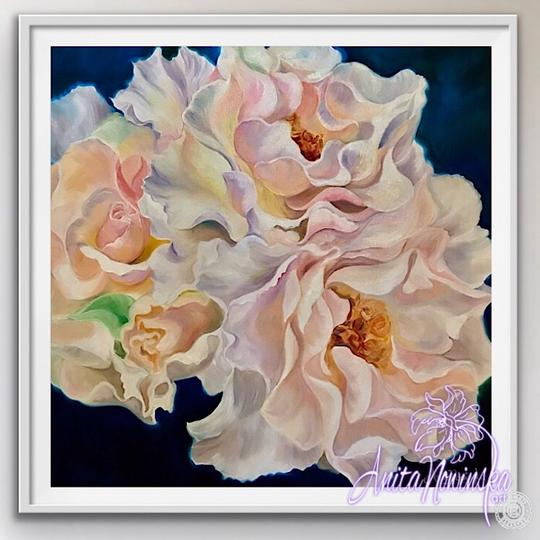 "8"" framed limited edition print of peach roses flower painting by Anita Nowinska"