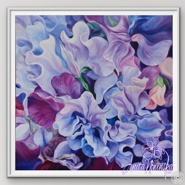 "8"" framed limited edition print of purple sweet peas flower painting by Anita Nowinska"
