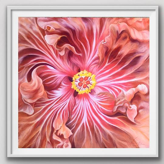 "8"" framed limited edition print of rusty red hibiscus flower painting by Anita Nowinska"