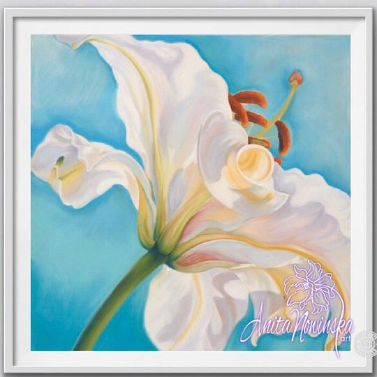 "8"" framed limited edition print of white lily flower painting by Anita Nowinska"