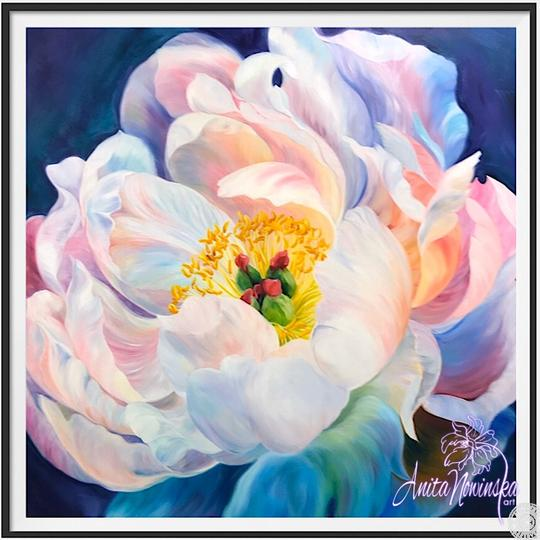 "8"" framed limited edition print of white peony flower painting by Anita Nowinska"