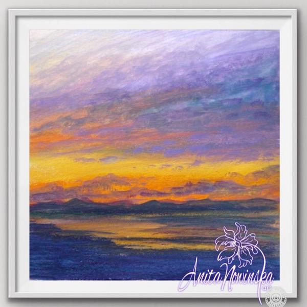 "8"" framed limited edition print of sunset painting by Anita Nowinska"