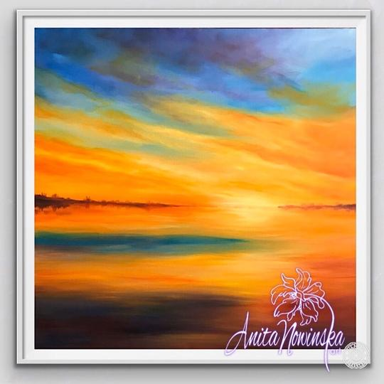framed limited edition print of orange & blue sunset painting