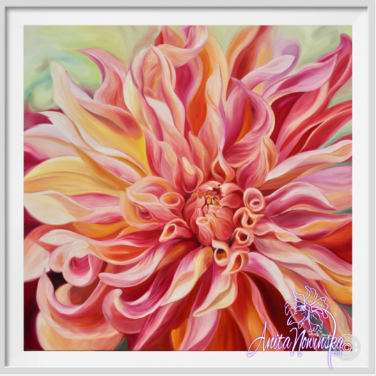 "8"" framed limited edition print of labyrinth dahlia flower painting by Anita Nowinska"