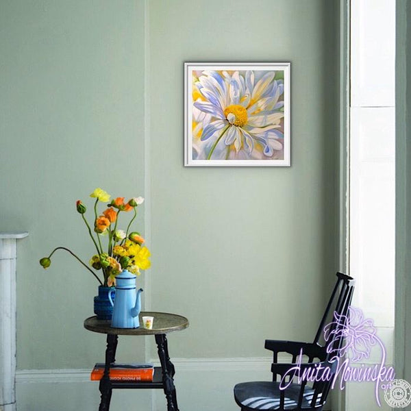 framed print of big flower painting of ox eye daisy by Anita Nowinska