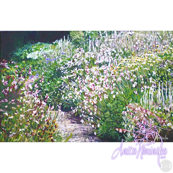 White Summer III - White wild flower garden, Flower painting on canvas