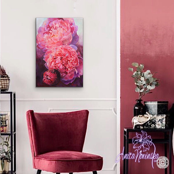 Efflorescence- pink peony painting by Anita Nowinska- Wall art