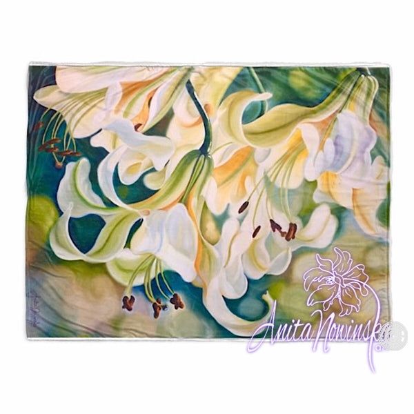 Big floral luxury throw, white lilies & green by Anita Nowinska