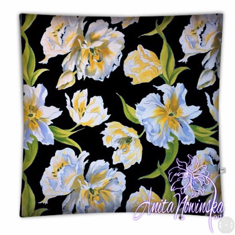 Big floral floor cushion, white & yellow tulips on black  by Anita Nowinska