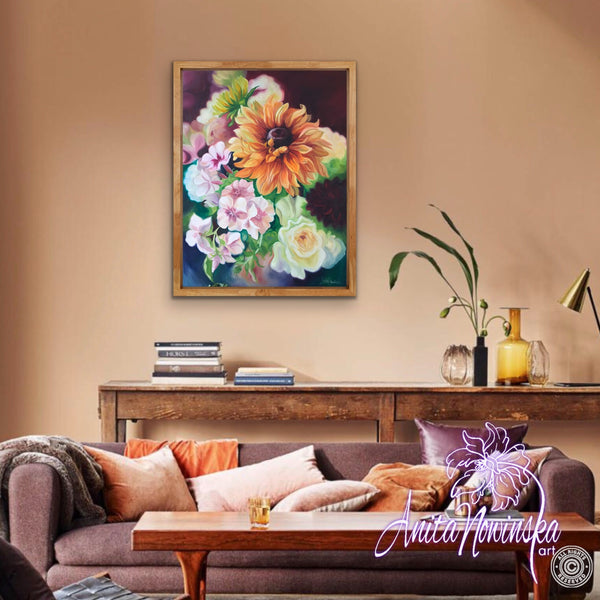 beautiful original oil on canvas floral painting of Rudbeckia, phlox & roses by Anita Nowinska, interior decor wall Art