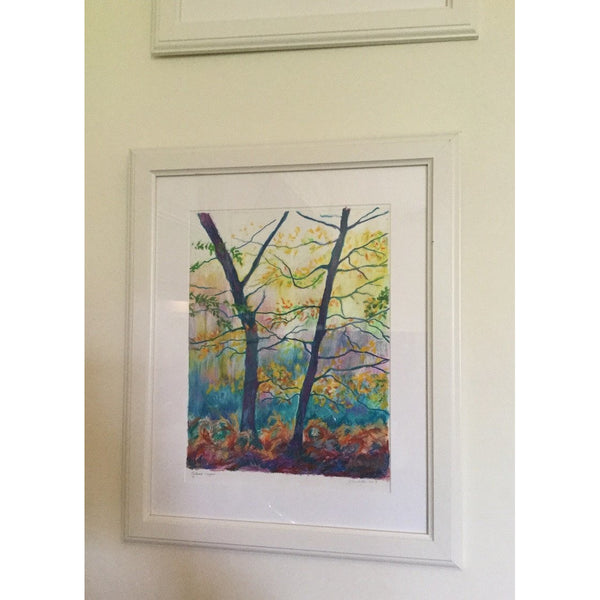 Autumn layers - Trees in Autumn - Original mixed media framed painting