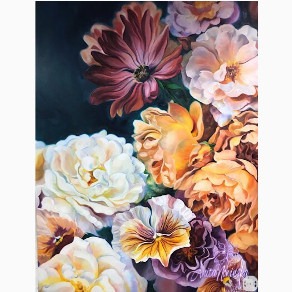 'Abundance' big flower painting of a summer flower bouquet with roses, cosmos and pansies in oil on canvas, floral interior wall decor