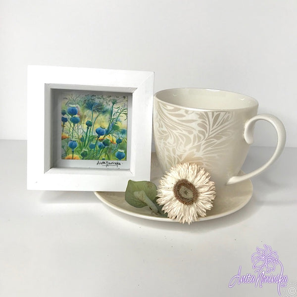 Gorgeous miniature floral print from Anita Nowinska flower painting, framed in white, making a perfect little gift of colour for your interior
