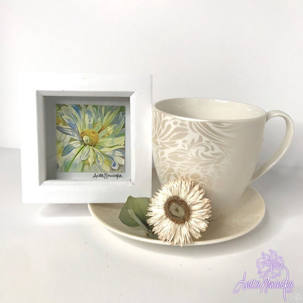 Gorgeous miniature floral print from Anita Nowinska flower painting, framed in white, making a perfect little gift of colour for your interior, daisy