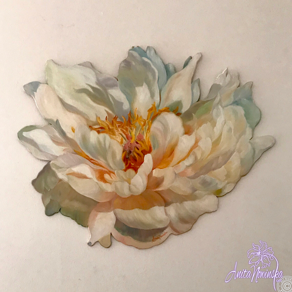 Freeform cutout oil on board flower painting of a creamy white peony in full bloom. Interior decor wall art.