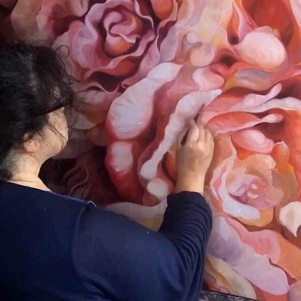 Statement art oil on canvas of peach, dusty pink & orange roses by Flower painter Anita Nowinska