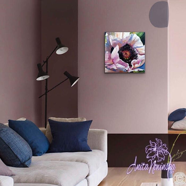 oil on canvas o white & pink poppy by Anita Nowinska wall art