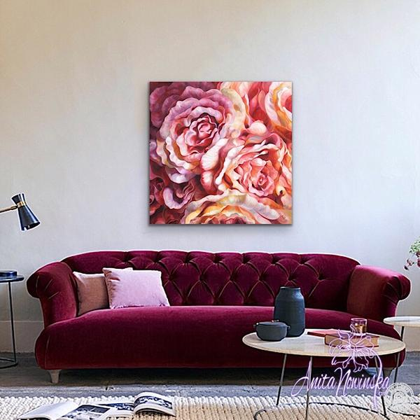 Beautiful big statement art poil on canvas peach, dusty pink & orange roses by Flower painter Anita Nowinska