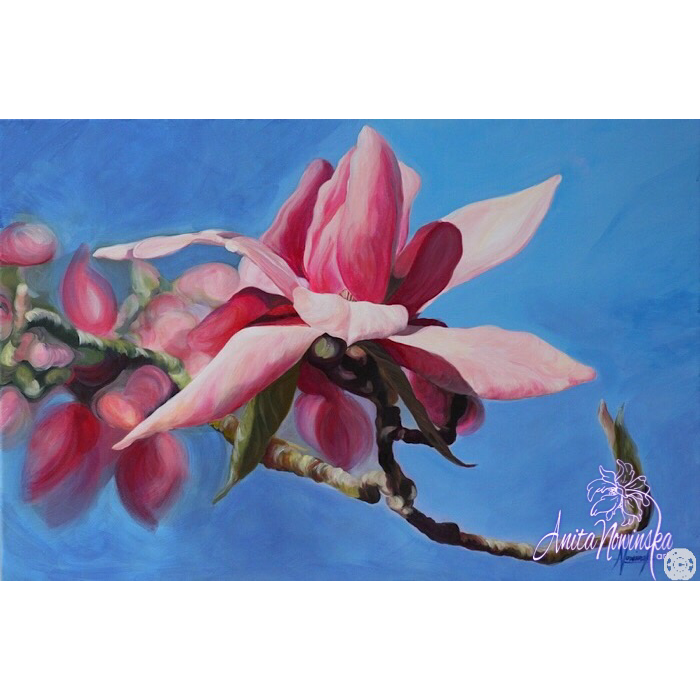 Out on a limb- Pink Magnolia Painting