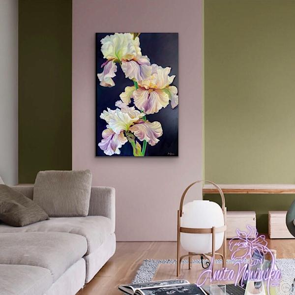 Flower painting of irises oil on canvas on dark background by Anita Nowinska