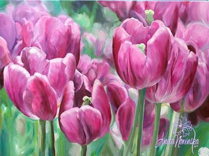 oil on canvas flower painting of pink tulips by Anita Nowinska