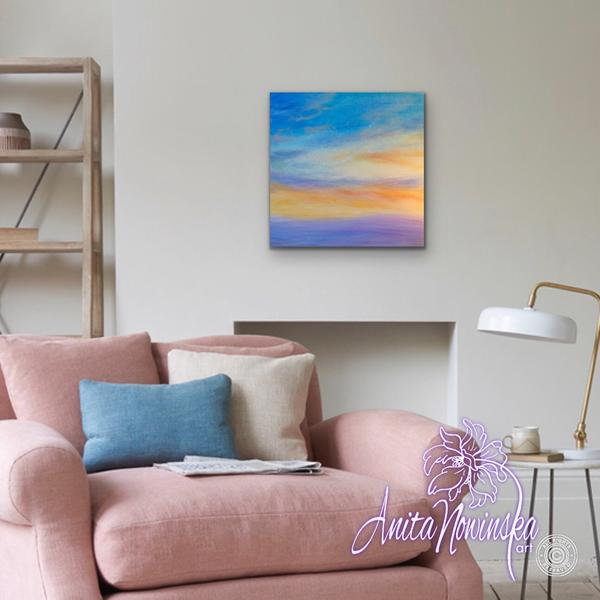 Blue Lilac & yellow sunrise sky painting by Anita Nowinska