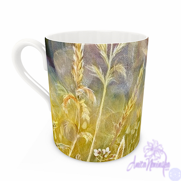 bone china floral mug with gold grassy meadow