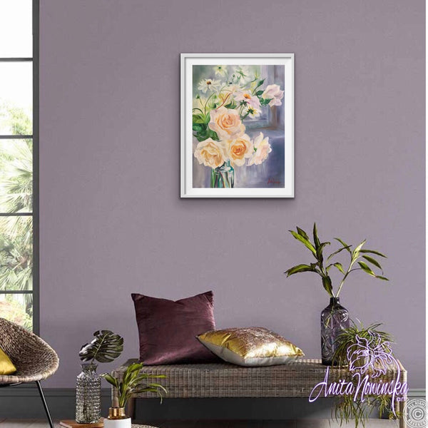A3 limited edition print framed of Delicate still life flower painting of pale peach roses and Dahlias in a glass bottle by a windowsill by Anita Nowinsak
