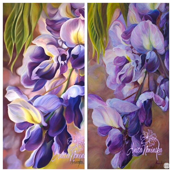 big flower painting of purple wisteria by Anita nowinska