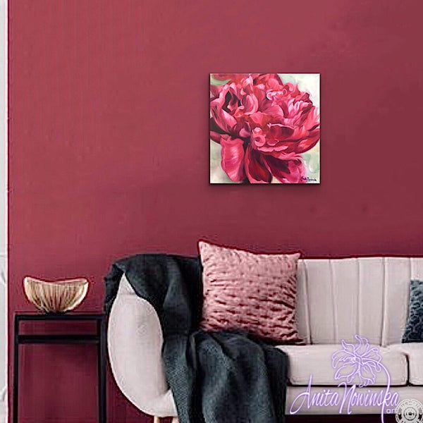 Beautiful oil painting of deep red peony on a pale green background, flower painting by Anita Nowinska for interior wall decor