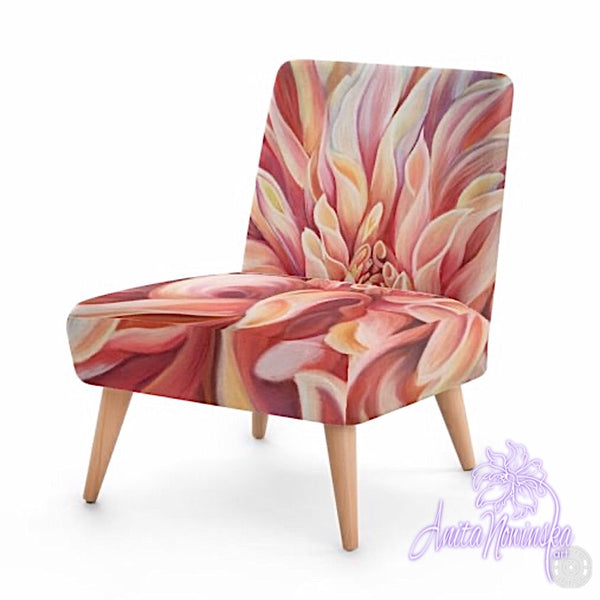 Small floral velvet chair, peach dahlia by Anita Nowinska