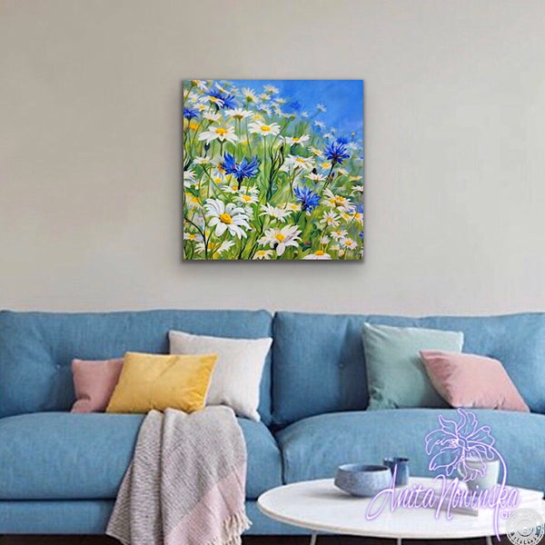 canvas print meadow flower painting with daisies & cornflowers Anita Nowinska
