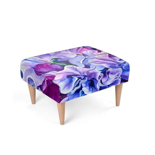 Floral velvet footstool, purple sweet peas by Anita Nowinska